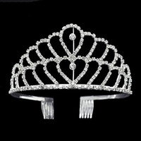 Luxury crown Shiny Crystal Bridal Tiara Party Pageant Silver...
