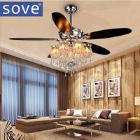 Sove 56inch Chrom Moderne Kristall Kronleuchter Fan Lichter Wohnzimmer  Dekorieren Home Fan Fernbedienung Ventilador De Techo