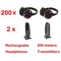 Casque sans fil RF avec 2 canaux et lumière LED pour casque et 2 émetteurs Silent Disco 200