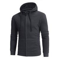 2017 осень зима большой размер новый полярный флис теплый мужской досуг молния с капюшоном свитер сплошной цвет мужчины работает