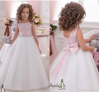 2019 Sash Crystals Tulle Ball Gown Flower Girl Dresses Vintage Child Pageant Abiti da sposa di comunione Flower Girl Dresses