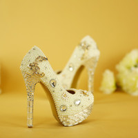 Crystal Wedding Shoes Plus Size White Pearl Bridal Dress Pum...