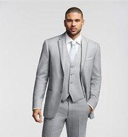 Alta calidad, dos botones, gris claro, esmoquin, novios, padrinos de boda, el mejor hombre para hombre, para hombre de boda, chaqueta y traje, traje de cena (chaqueta + pantalones + chaleco)