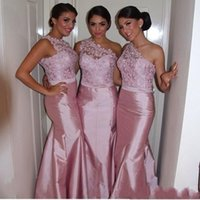 Sexy Pink Lace Cheap 2017 Mermaid Bridesmaid Dresses One Sho...