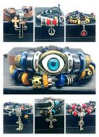 Men Women Vintage Infinity Leather Charm Bracelet Silver Wooden Beads Cuff Wristbands 12 Mixed Style Jewelry Bracelet