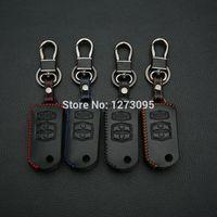 A mano in pelle cucita Car Key Case Cover Mazda 2 Mazda 3 Mazda 5 Mazda 6 Mazda 8 4 tasti chiave pieghevole portachiavi fob