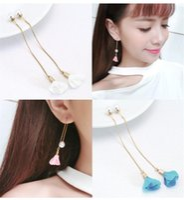 Classic Long Earrings pearl flower drop Tassel Ear Stud Earrings Ear line Fashion Jewelry Chic Design Earing Ear Accessories Jewellry