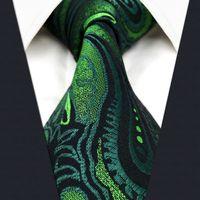 U30 بيزلي الزهور الأخضر الداكن الأسود الرجال ربطة العنق العلاقات الحرير 100٪ إضافي جاكار نسج طويل العلامة التجارية الجديدة