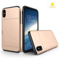 Para iphone 8 plus iphone x celular case com tampa deslizante titular do cartão tampa traseira shell à prova de choque armadura iphone7 plus samsung 8