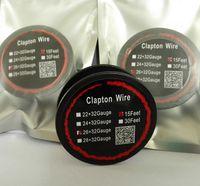 Fios Nicromo Clapton fio de aquecimento Para E Cigs RDA Atomizador DIY E Cigarettes 22AWG 24AWG 26AWG 28AWG 15 pés embalados individualmente