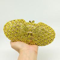Boutique De FGG Sparkling Gelb Kristall Schmetterling Fee Frauen Abend Handtasche Metall Kupplungen Handtasche Hochzeit Handtasche Kupplung