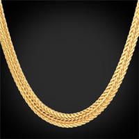 Wholesale-Gold Foxtail Halskette 18K 'Stempel Platin / 18K Reales Gold überzogen / Rose Gold Trendy 46CM / 55CM / 66CM Goldkette Halskette für Männer N942