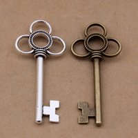 100 pcs antique key charms pendant in large size 55x24mm bro...