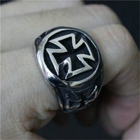 5 pz / lotto Dimensione 7-13 Gesù croce fresco anello 316L in acciaio inox gioielli moda uomo ragazzo biker persona design anello croce