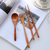 Wooden dinnerware set Fork Spoon Chopsticks Kitchen Cooking ...