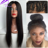 7A Silky Straight Glueless Lace Front Wig Heat Resistant Fib...