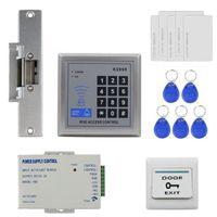 DiySecur Access Control System Fjärrkontroll RFID Reader Full Kit Set + Electric Strike Dörrlås + Strömförsörjning K2000