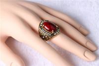 Moda europea e americana retrò Band of diamond ring big gem turchese placcatura oro antico Anelli