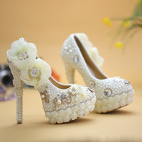 Exclusive New Style Wedding Shoes White Pearl High Heel Plat...