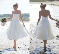 White Short beach wedding dresses With Polka Dot Lace A Line...