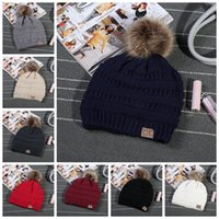 CC Trendy Hats Winter Knitted Woolen Beanie Label Fedora Cab...