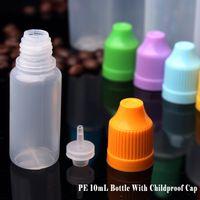 Nova chegada plana macia LDPE 10ml de plástico conta-gotas do frasco recipientes vazios e por atacado tampa à prova de crianças 10 ml de frasco conta-gotas de plástico feitas em
