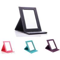 New Coreano Moda PU Espelho De Couro Espelho de Maquiagem Portátil Dobrável Maquiagem Espelho Espelho Compacto Espelho Compacto Espelhos