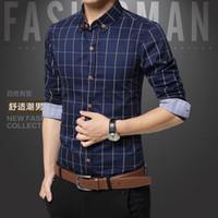 All'ingrosso-plaid masts shirt stile moda in cotone uomini vestito camicie vestiti sociale camicia casual uomo chemise homme m-5xl