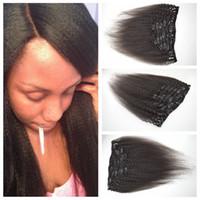 Clip in den Haarverlängerungen 120g 7 stücke 4a, 4b, 4c Natürliche Farbe Grobe Yaki Haarverlängerungen 100% Menschenhaar Gewebt G-Easy