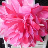 Бесплатная доставка оранжевый / фуксия атласная органза большой цветок лайкра стул группа для свадебные украшения использовать