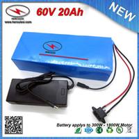 O ENVIO GRATUITO de (1 PC) 1800 W 60 V 20Ah Ebike Bateria de iões de lítio 18650 Células com Caso de PVC 16 S 30A BMS + 67.2 V 2A Carregador