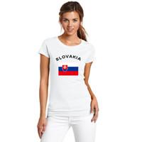 새로운 2016 슬로바키아 축구 팬 응원 여성 T- 셔츠 여름 유럽 컵 체육관 스포츠 국기 흰색 T 셔츠 여성용