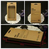 Nueva caja del paquete de la venta al por menor 155 * 90 * 15m m de la manera del papel de kraft marrón para la contraportada del caso del cuero del iphone 6 6s