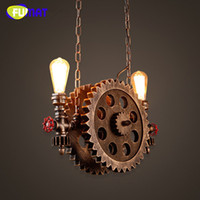 FUMAT Gear Pendant Light Vintage Iron Pipe Pendant Lamps Bar...