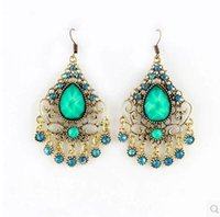 Turquoise Long Dangle Earrings Bohemian Style Gemstone Earri...
