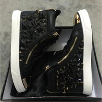 2016 black leather with spikes Rhinestone high top Zanotys l...