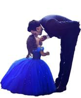 긴 공주 신데렐라 꽃의 소녀 드레스 오프 - 더 - 어깨 층 길이 볼 가운 블루 키즈 선발 대회 가운 최신 디자인 맞춤 제작 096