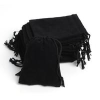 Envío Gratis 100 Unids / lote 7x9 cm Bolsa de Regalo de Terciopelo Negro Portátil Pequeño Bolso de la Joyería bolsa de Embalaje de la joyería