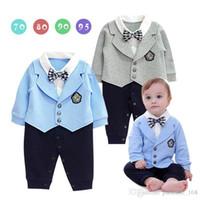 Детская детская одежда ползунки srping стиль милый синий джентльмен с длинным рукавом плед галстук одежды мальчик ползунки 100% хлопок детские ползунки свободный корабль