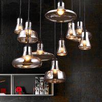 Pendentif en verre Vintage Couleur gris clair, couleur claire, lampes à pendentif couleur ambre avec ampoules 110v / 220V LED Pendentif lumières