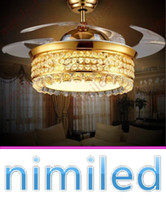 Nimi941 42 inç Altın LED Fan Işıkları Restoran Görünmez Kristal Lamba Oturma Odası Tavan Lambaları Stealth Sarkıt Aydınlatma Avize