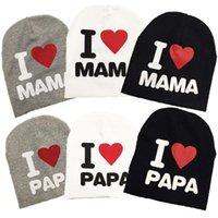 الجملة جديد الخريف الطفل محبوك القطن القطن قبعة صغيرة للأطفال طفل أطفال فتاة بوي أنا أحب بابا ماما طباعة الطفل الشتاء القبعات
