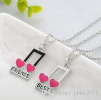 Best Friends Womens Necklace Set Silver Plated Music Note Collares Idea de Regalo Joyería Única Gargantillas Collares