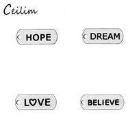 Fashion Simple Small Believe &Hope & Love Word Charms Stainl...