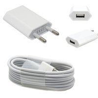 Al por mayor-100% genuino original blanco USB EU adaptador de cargador de pared de la UE + USB cable de cargador de fecha para iPhone 5 5s 6 plus para ipad Air