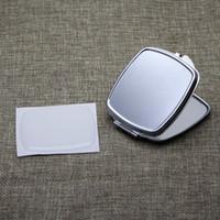 الفضة مستطيل مدمجة مرآة فارغة مكبرة مرآة الجيب + ملصق الايبوكسي diy مجموعة # M057FY مجانا dhl فيديكس الشحن