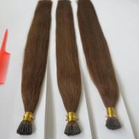 Cor marrom médio eu dica queratina extensão do cabelo pré-colada almofada cabelo 1.0 g em linha reta cabelo humano brasileiro 50g 100g 150g 200g