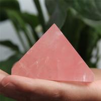 Venta al por mayor HJT 196g pirámide de cristal rosa Natural nunatak Reiki curación pirámide de cristal de cuarzo rosa decoración 45mm-62mm