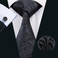 남자에 대 한 고전적인 실크 넥타이 블랙 타이 세트 페이 즐 리 망 넥타이 넥타이 행 커 커 프 스 단추 자 카드 짠 모임 공식 비즈니스 파티 선물 N-1494