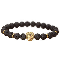 Großhandel gold farbe buddha leo lion kopf armband schwarz lava steinperlen armbänder männer frauen schmuck seil kette strang armband